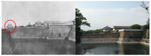 大阪城の今昔写真