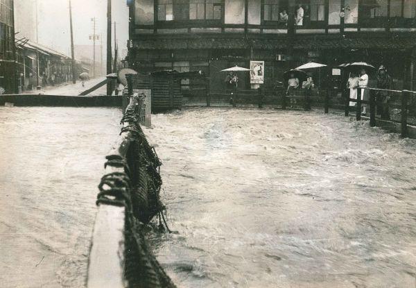 昭和34年8月水害 西高瀬川下溝町付近